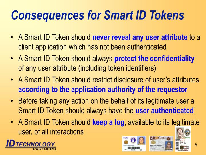Consequences for Smart ID Tokens
