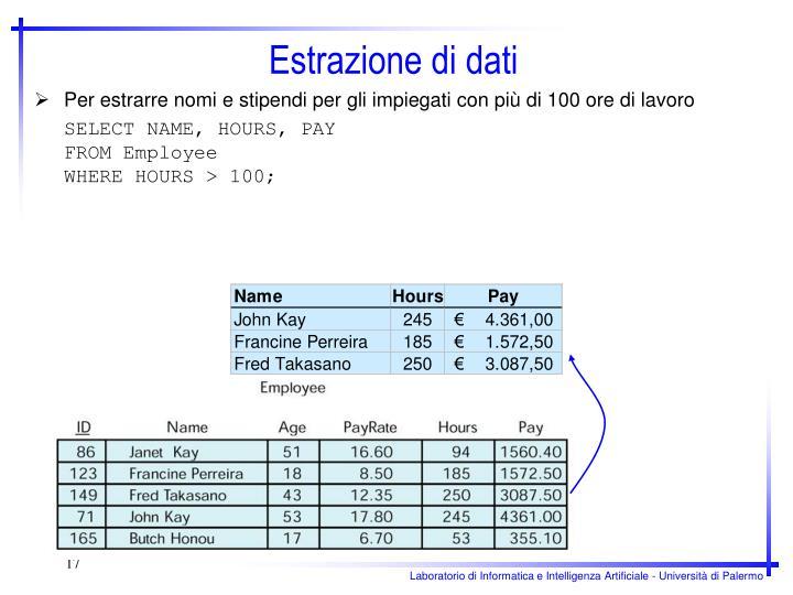 Per estrarre nomi e stipendi per gli impiegati con più di 100 ore di lavoro