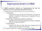 organizzazione dei dati in un dbms