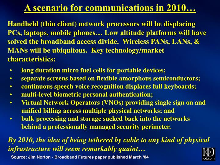 A scenario for communications in 2010…