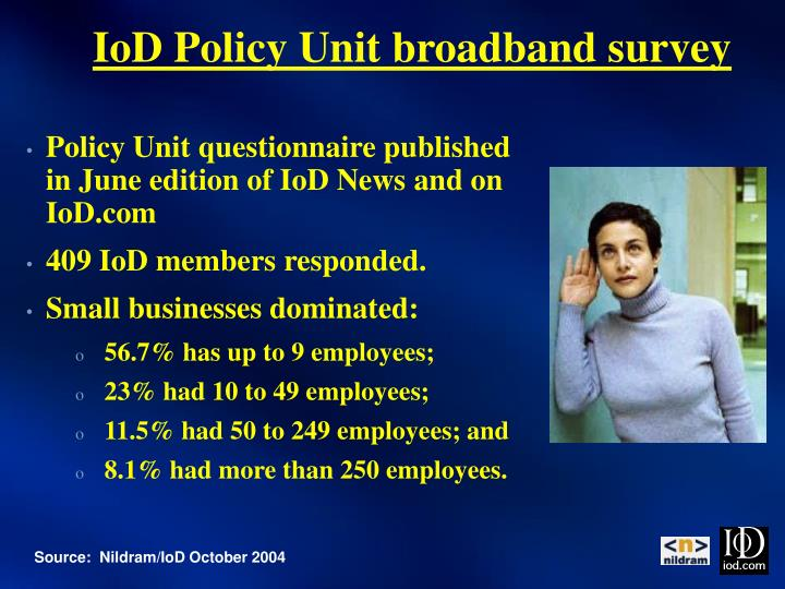 IoD Policy Unit broadband survey