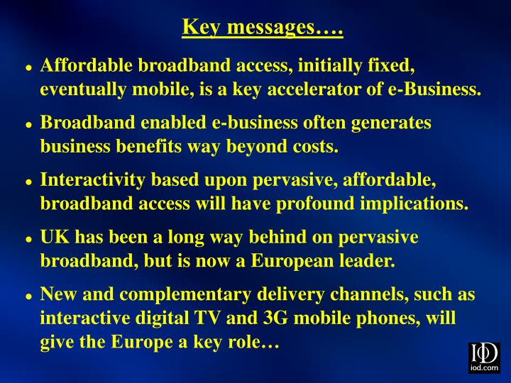Key messages….