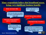 many respondents believe that broadband access brings very significant business benefits