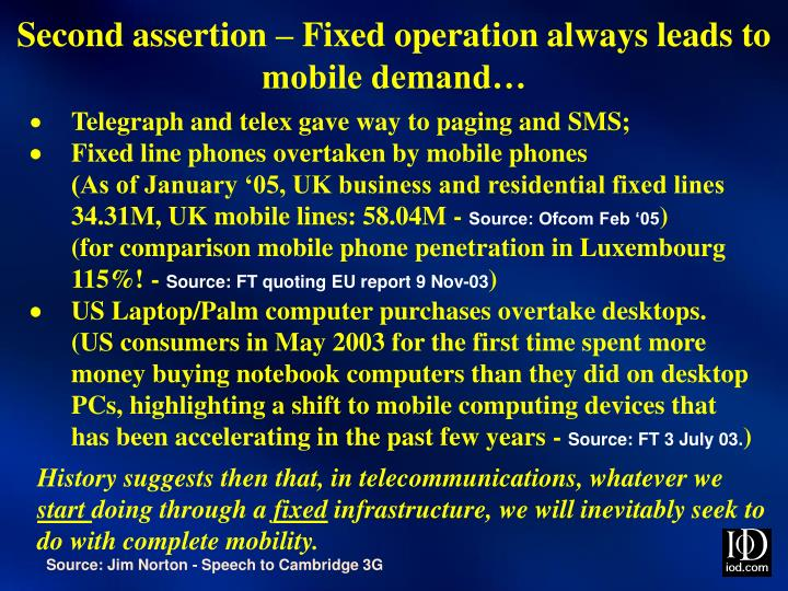 Second assertion – Fixed operation always leads to mobile demand…