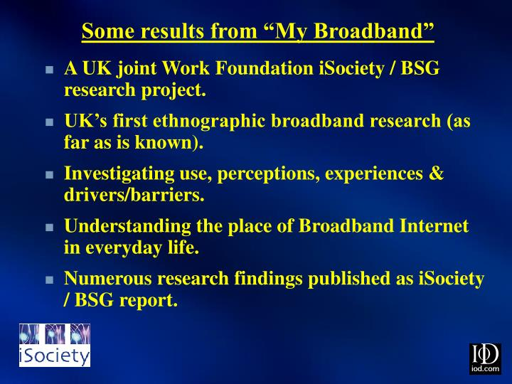 "Some results from ""My Broadband"""