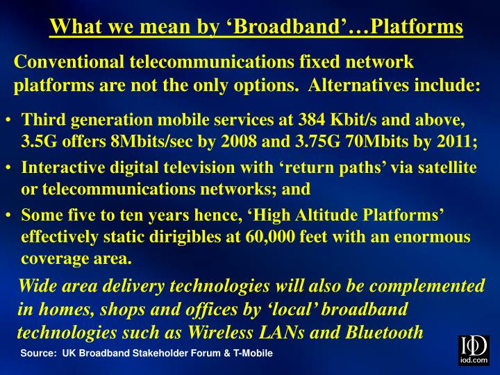 What we mean by 'Broadband'…Platforms