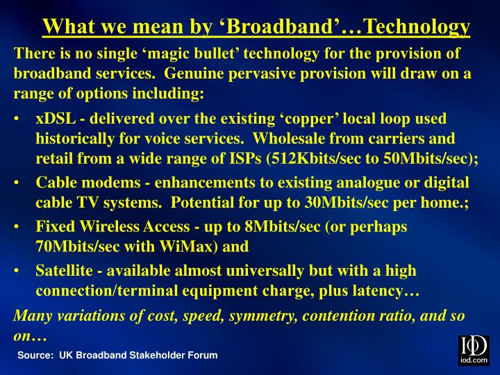 What we mean by 'Broadband'…Technology
