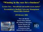 winning in the race for e business