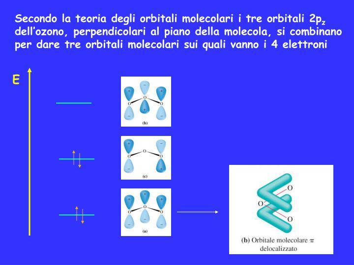 Secondo la teoria degli orbitali molecolari i tre orbitali 2p