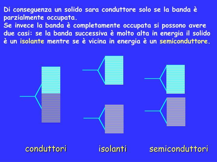 Di conseguenza un solido sara conduttore solo se la banda è parzialmente occupata.