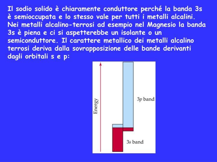 Il sodio solido è chiaramente conduttore perché la banda 3s è semioccupata e lo stesso vale per tutti i metalli alcalini.