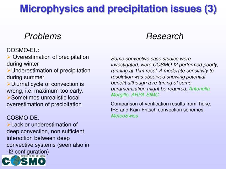Microphysics and precipitation issues (3)
