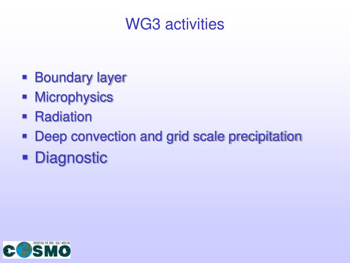 WG3 activities