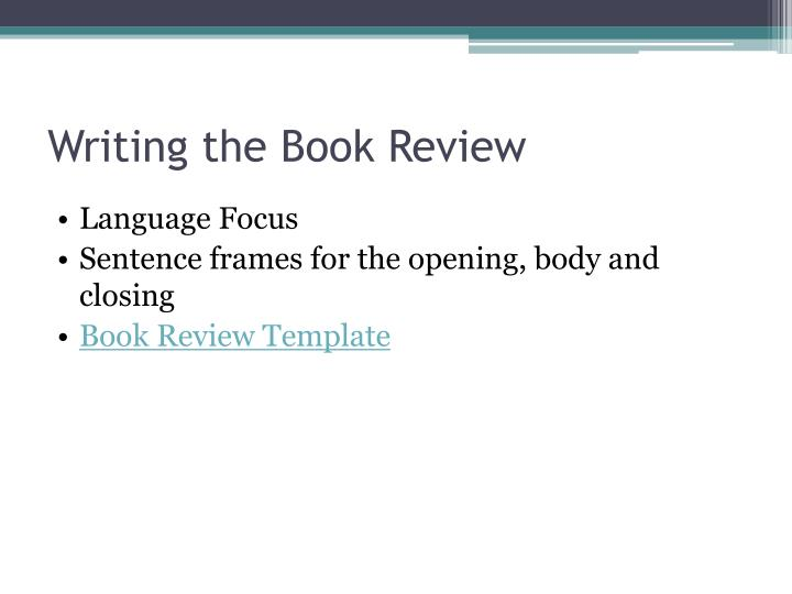Writing the Book Review