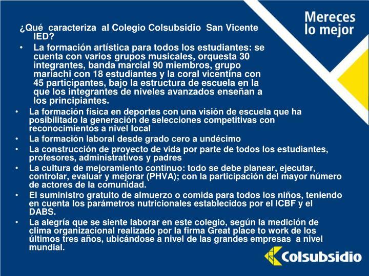 ¿Qué  caracteriza  al Colegio Colsubsidio  San Vicente IED?