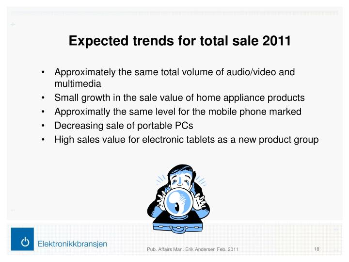 Expected trends for total sale 2011