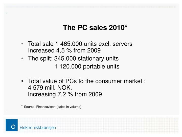The PC sales 2010*