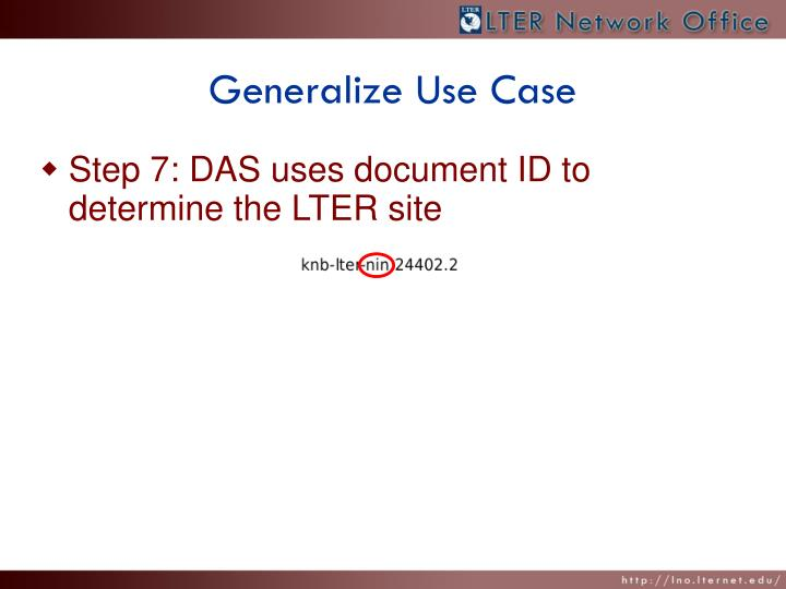 Generalize Use Case