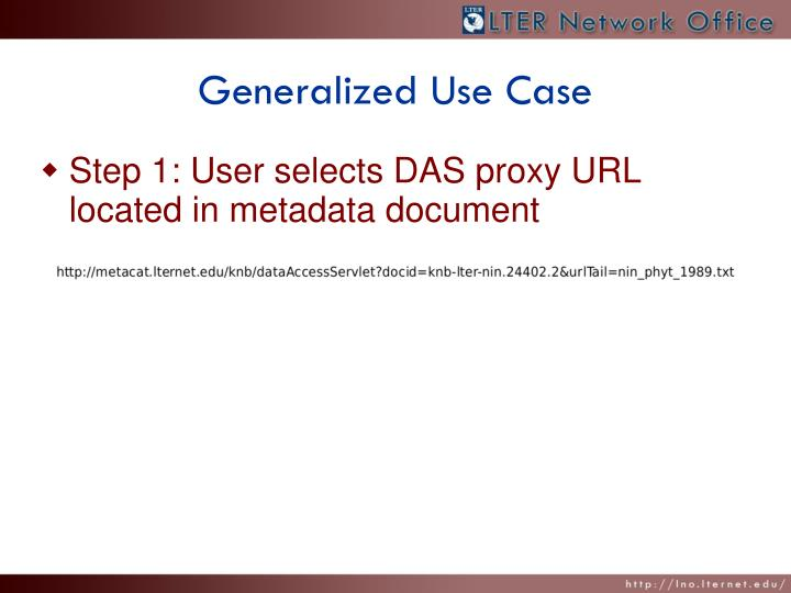Generalized Use Case