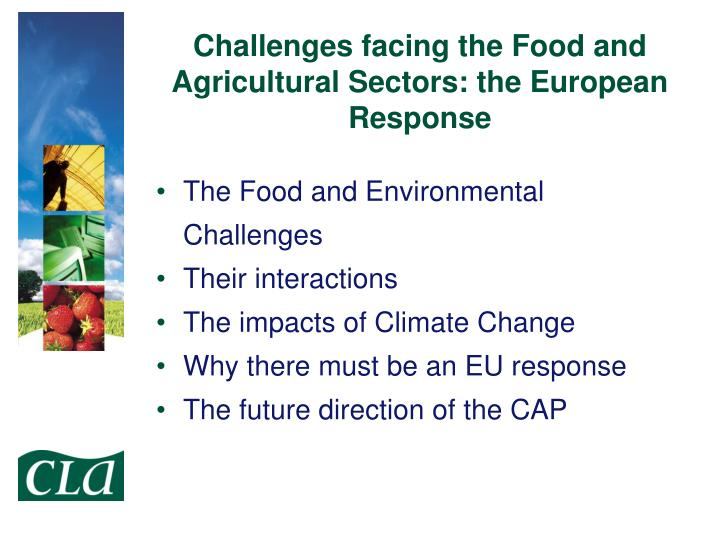 Challenges facing the food and agricultural sectors the european response