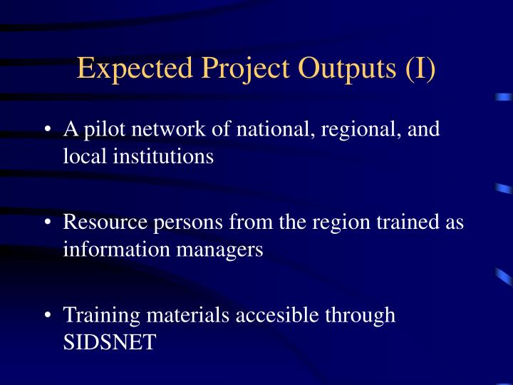 Expected Project Outputs (I)