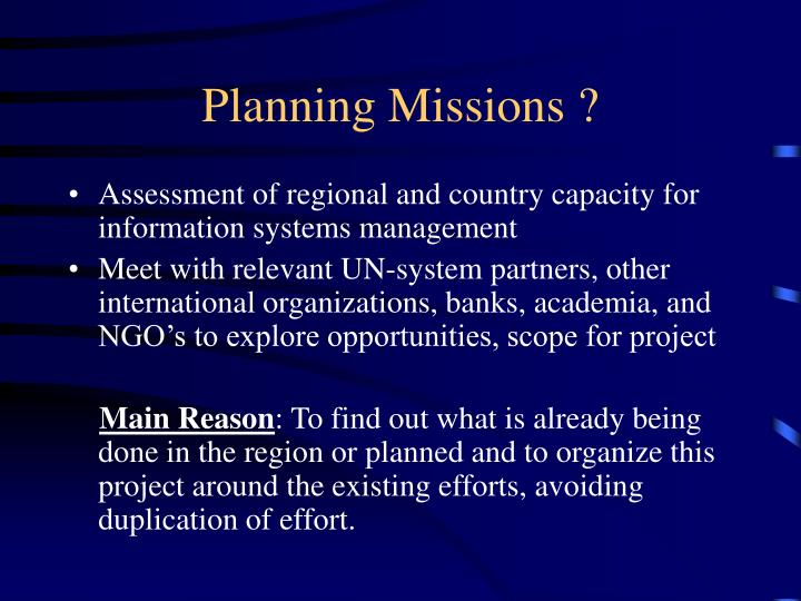Planning Missions ?
