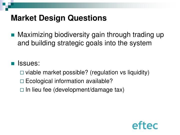 Market Design Questions