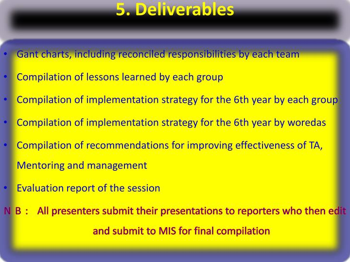 5. Deliverables