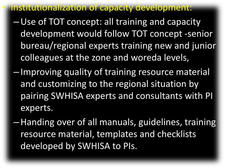 Institutionalization of capacity development: