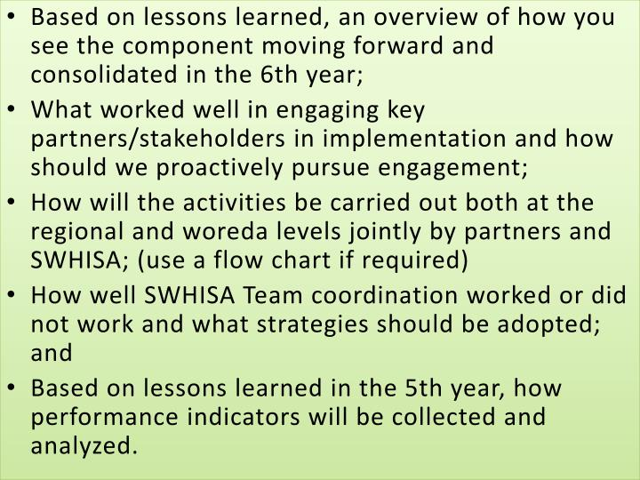 Based on lessons learned, an overview of how you see the component moving forward and consolidated in the 6th year;