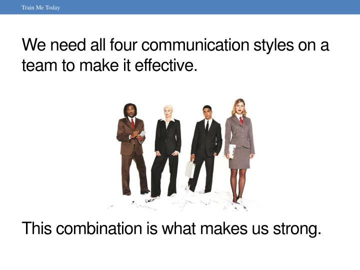 We need all four communication styles on a team to make it effective.