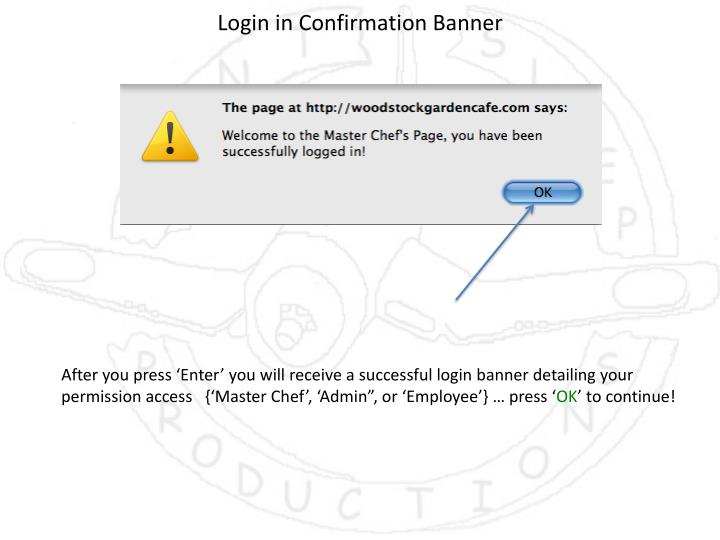 Login in Confirmation Banner