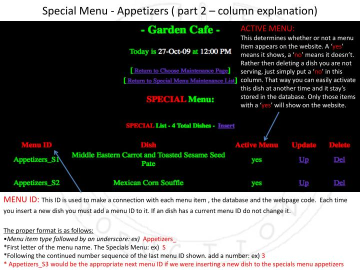 Special Menu - Appetizers ( part 2 – column explanation)