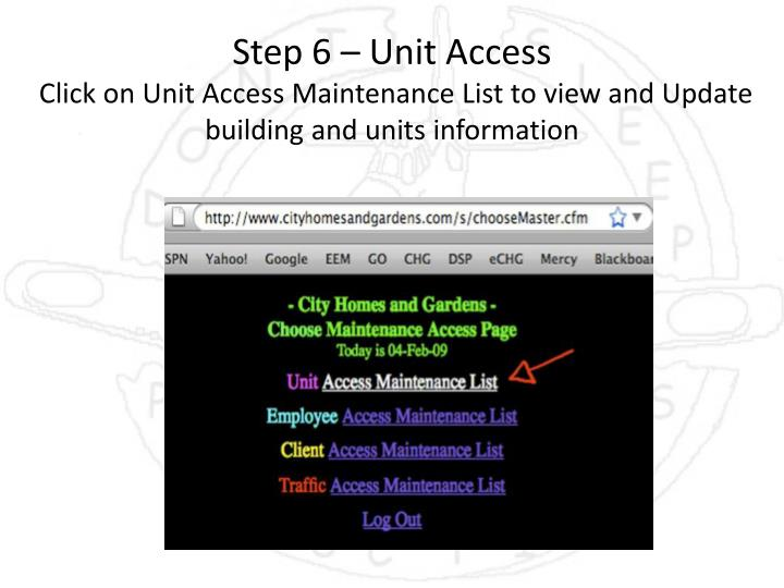 Step 6 – Unit Access