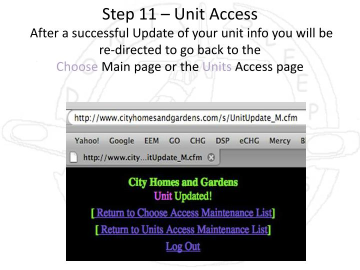 Step 11 – Unit Access