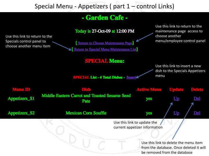 Special Menu - Appetizers ( part 1 – control Links)