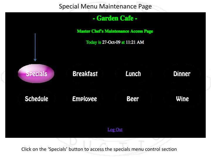 Special Menu Maintenance Page