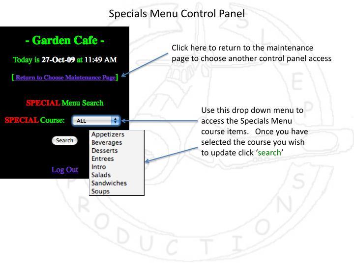 Specials Menu Control Panel