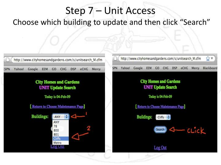 Step 7 – Unit Access