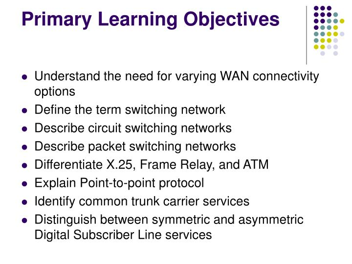 Primary learning objectives