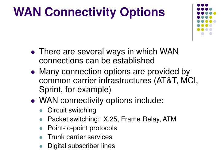 WAN Connectivity Options