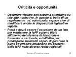 criticit e opportunit