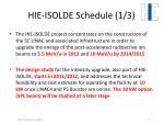 hie isolde schedule 1 3