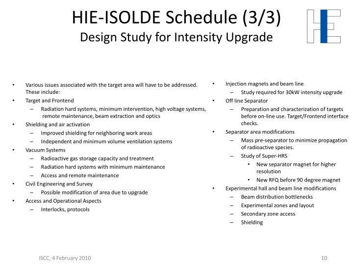 HIE-ISOLDE Schedule (3/3)