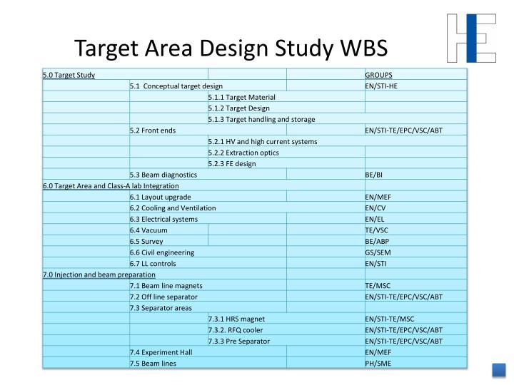 Target Area Design Study WBS