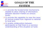 goals of the system
