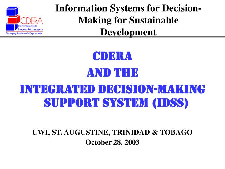 Information systems for decision making for sustainable development