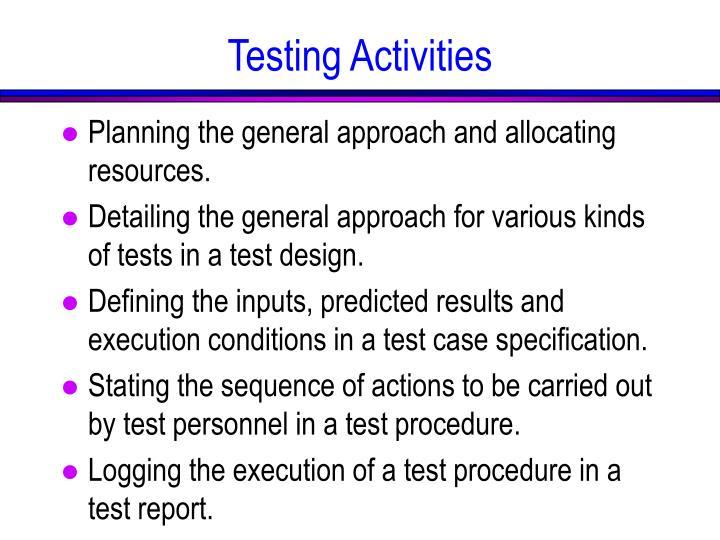 Testing Activities