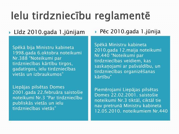 Ielu tirdzniecību reglamentē