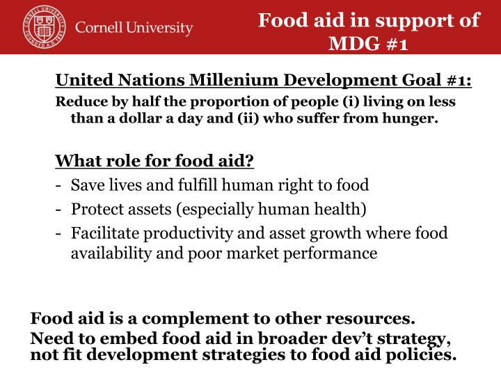 Food aid in support of MDG #1